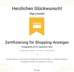 Google Zertifizierung Shopping-Anzeigen